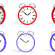 Two 3d antique alarm clocks in various positions — Stockfoto #6753879