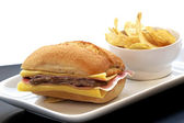 Sandwich with steak, ham and cheese — Stock Photo