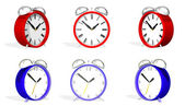 Two 3d antique alarm clocks in various positions — Stock Photo