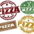 Stock Vector: Pizzstamps