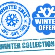 Winter stamps — Stock Vector