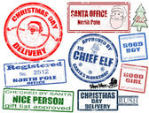 Set of Christmas stamps — Vector de stock