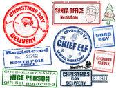 Set van kerstmis postzegels — Stockvector