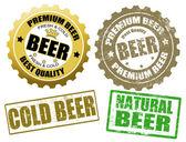 Set van bier label en stempels — Stockvector