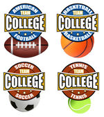 College sport's labels — Stock Vector