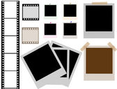 Photo frames and film strip — Stock Vector