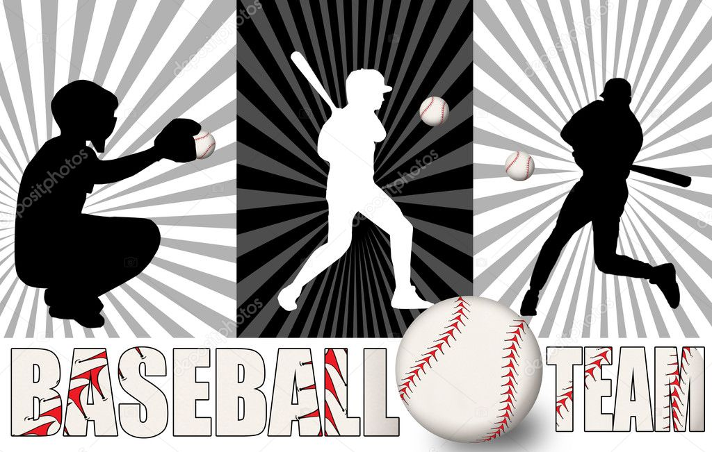 Baseball poster with players silhouettes, vector illustration  Stock Vector #7744546