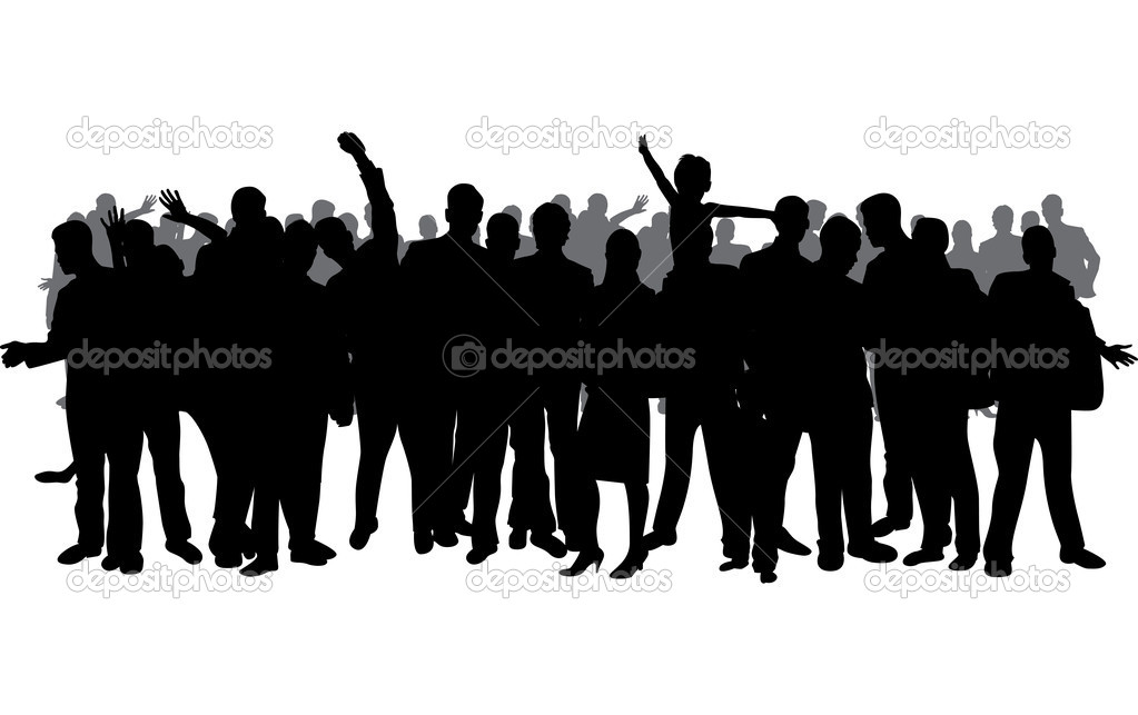 Standing crowd silhouette - photo#14