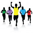 Stock Vector: Group of runners