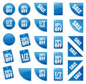 Set of blue sales signs — Stock Vector