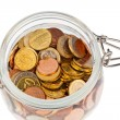 A jar of coins of the european currency euro - Stock Photo