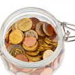 A jar of coins of the european currency euro — Stockfoto