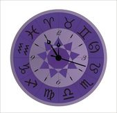Vector clock zodiac violet — Stock Vector