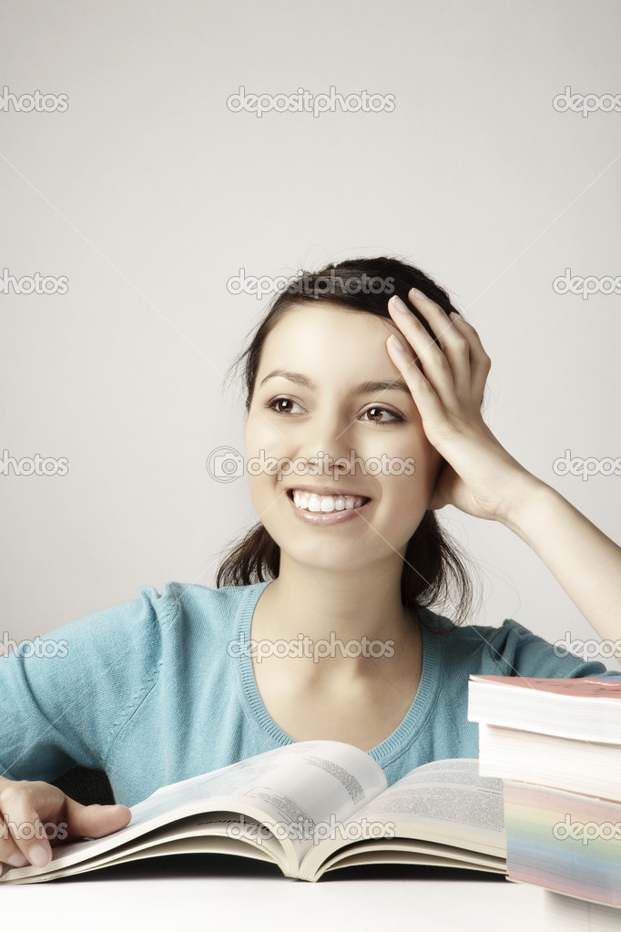 Young girl happily doing her work — Stock Photo #6857621