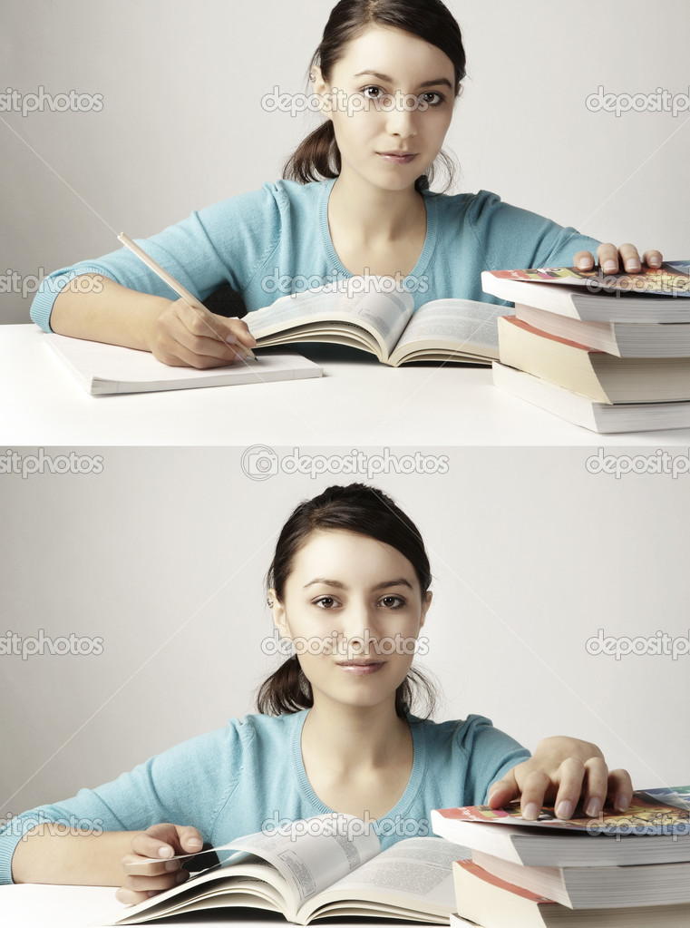 Young good looking girl working hard over text books — Stock Photo #6857656