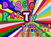 Disko party alphabet — Stock Vector