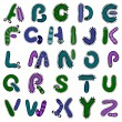 Stock Vector: Bacterium alphabet