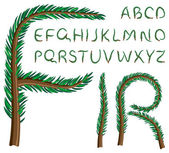 Fir tree alphabet — Stock Vector