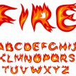Stock Vector: Flame alphabet