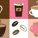 Cute Coffee Mugs — Stock Vector