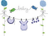 Baby Boy Clothes Line — Stock Vector