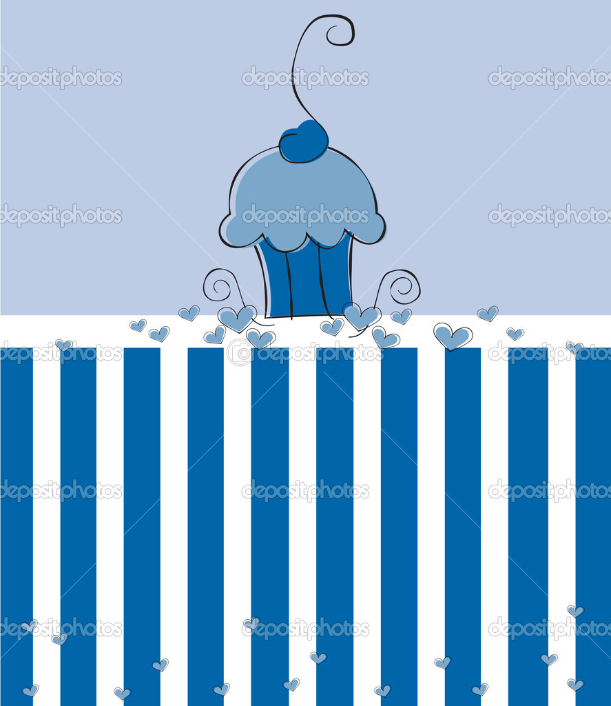 Cute blue birthday party cupcake  Stock Vector #6881938
