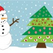 Snowman and Christmas Tree - Stok Vektör