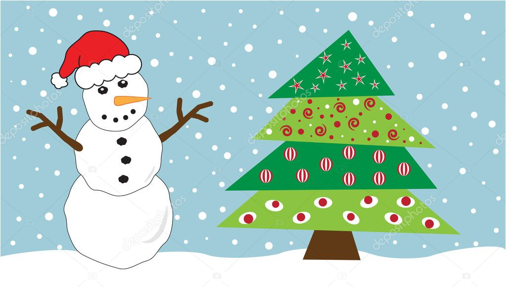 Festive snowman and Christmas tree — Vektorgrafik #7564596