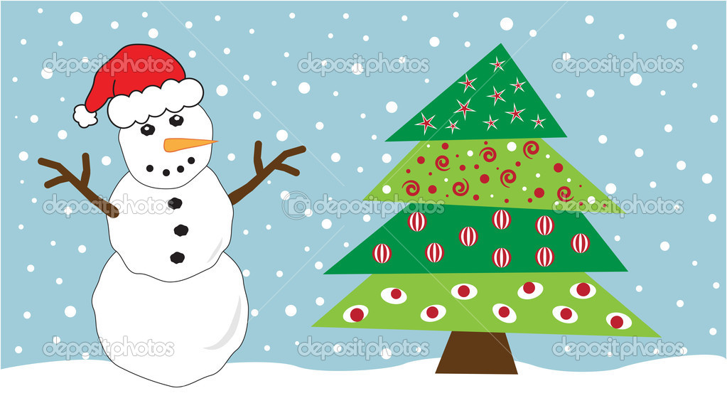 Festive snowman and Christmas tree  Stockvectorbeeld #7564596