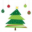 Christmas Tree and Ornaments — Stock Vector