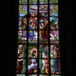 Stained-glass window in Saint Barbara's Church, Czech Republic, - Stock Photo