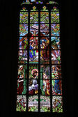 Stained-glass window in Saint Barbara's Church, Czech Republic, — Stock Photo