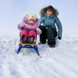 Mother and daughter sledging — Stock Photo #7620597