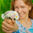 Girl with daisies — Stock Photo