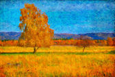 Oil picture a autumn landscape — Stock Photo