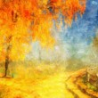 Picture oil paints on a canvas, landscape: autumn wood — Stock Photo #7370359