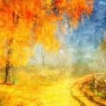 Picture oil paints on a canvas, landscape: autumn wood — Stock Photo