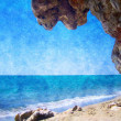 Oil picture with a structure - the Summer beach with rocks — Stock Photo #7748720
