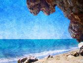 Cuadro del aceite con una estructura - la playa del verano con rocas — Foto de Stock