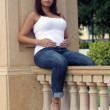 Beautiful Multiracial Woman Five Months Pregnant (5) - Stock Photo