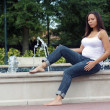 Beautiful Multiracial Woman Five Months Pregnant (9) - Stock Photo