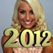 Beautiful Young Blonde with 2012 (2) - Stock Photo