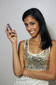 Young Multiracial Beauty with Cell Phone (5) — Stock Photo