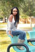 Beautiful Young Woman on a Park Bench (1) — Stock Photo