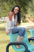 Beautiful Young Woman on a Park Bench (2) — Stock Photo