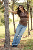 Lovely Young Brunette Outoors (1) — Stock Photo