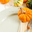 Table Setting with Fall Decoration - Stock Photo