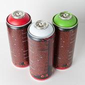 Three spray can — Stock Photo