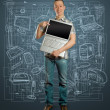 Man with open laptop in his hands — Stock Photo #6848634