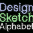 Sketch letters and numbers with pencil new — Stok fotoğraf
